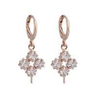 new trend 585 rose gold geometric earrings micro wax inlay zircon dangle earrings women bridal vintage fashion jewelry 2021