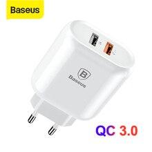 Chargeur rapide double USB Baseus 3.0 pour iPhone 8 7 prise ue adaptateur chargeur USB pour Samsung S9 S8 Xiaomi chargeur rapide de téléphone portable