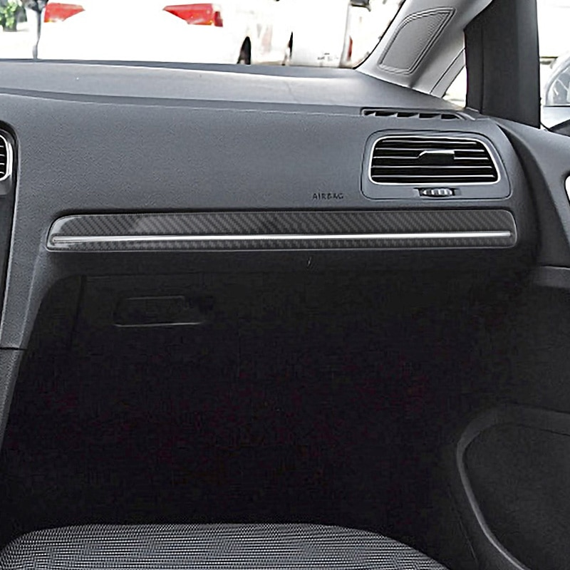 Car styling Carbon Fiber Interior Copilot's seat center console frame Cover Sticker for VW Golf 7 2014-19 Automotive Interior