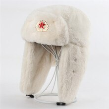 Men Women Soviet Army Military Badge Russia Bomber Hats Pilot Trapper trooper Hat Winter Faux Fur Ea