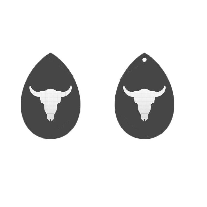 Japón acero hoja de cuero troquelado Oxhead pendiente con agujero cabeza de toro forma colgante plantilla patrón pendiente DIY suministros