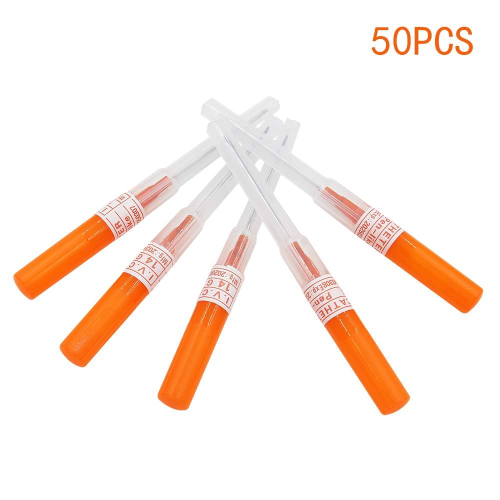 50pcs 14G Catheter Needles IV Catheter Piercing Needles Cannula Body Piercing Needles Stainless Steel Hollow Needles for Nose
