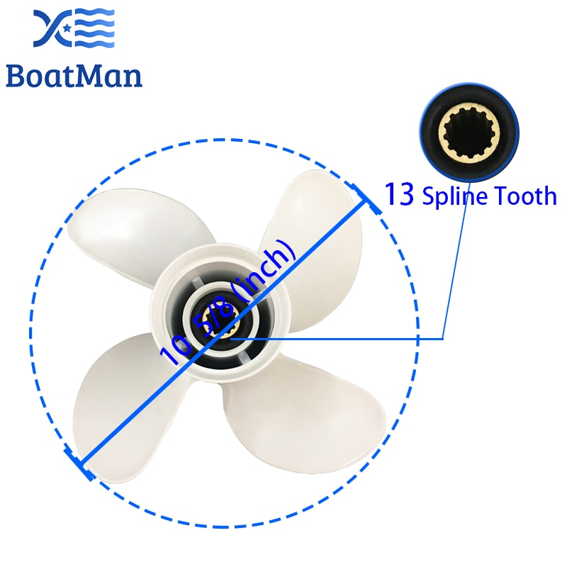 Boat Propeller 10 5/8x12 For Yamaha Outboard Motor T25HP 40HP 48HP 50HP 55HP 60HP Aluminum 13 Tooth 4 Blade Spline Engine Part enlarge