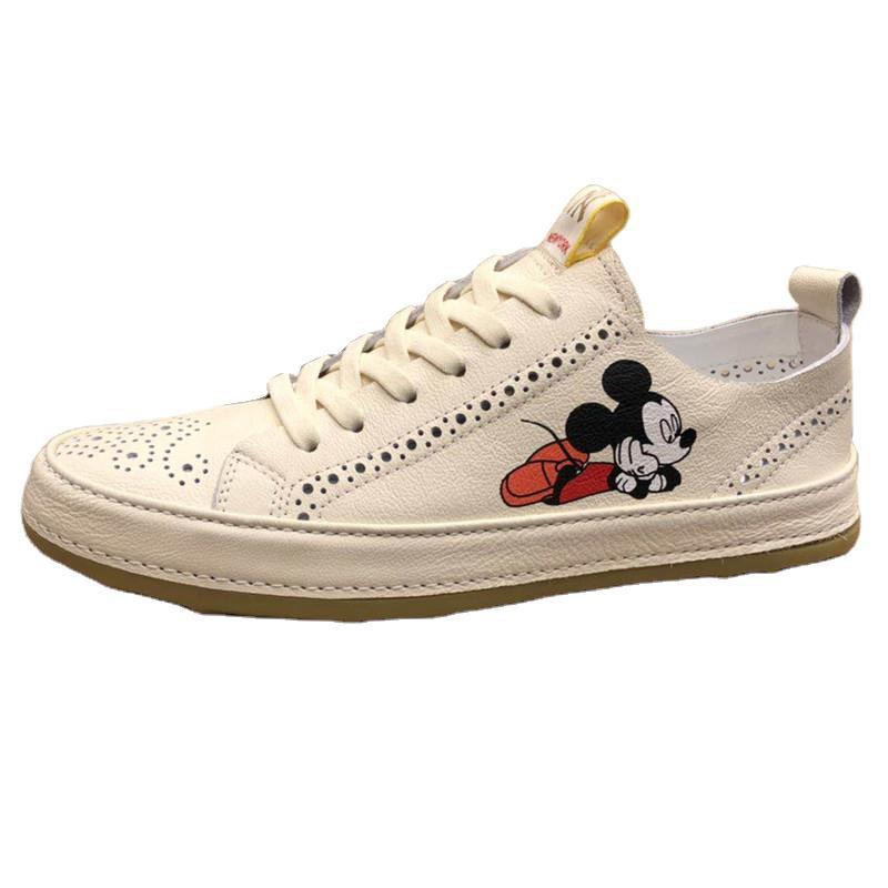 Disney Men's Leather Breathable Sneakers Student Shoes Trend Mickey Mouse Men's Shoes New Mickey White Shoes enlarge