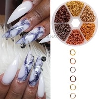 nail piercing dangle nails rings hoop mix metal alloy loops drill hole 3d jewelry kit circles acrylic tips aluminum jump ring