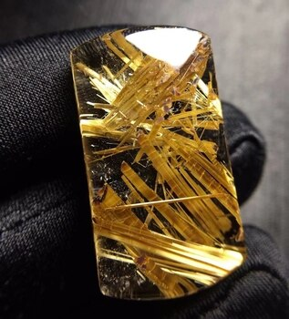 Genuine Natural Gold Rutilated Quartz Pendant 32*18.3*8.8mm Rectangle Crystal Wealthys Necklace Jewelry AAAAAA