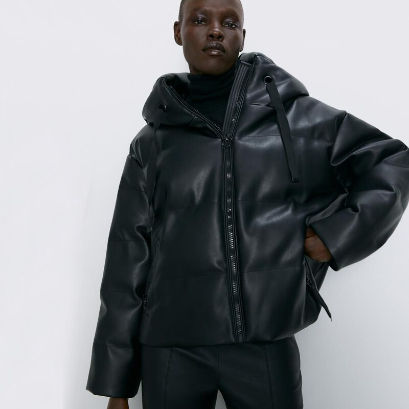 RR PU Leather Parkas Women Fashion Hooded Faux Leather Coats Women Elegant Zipper Cotton Jackets Female Ladies IT