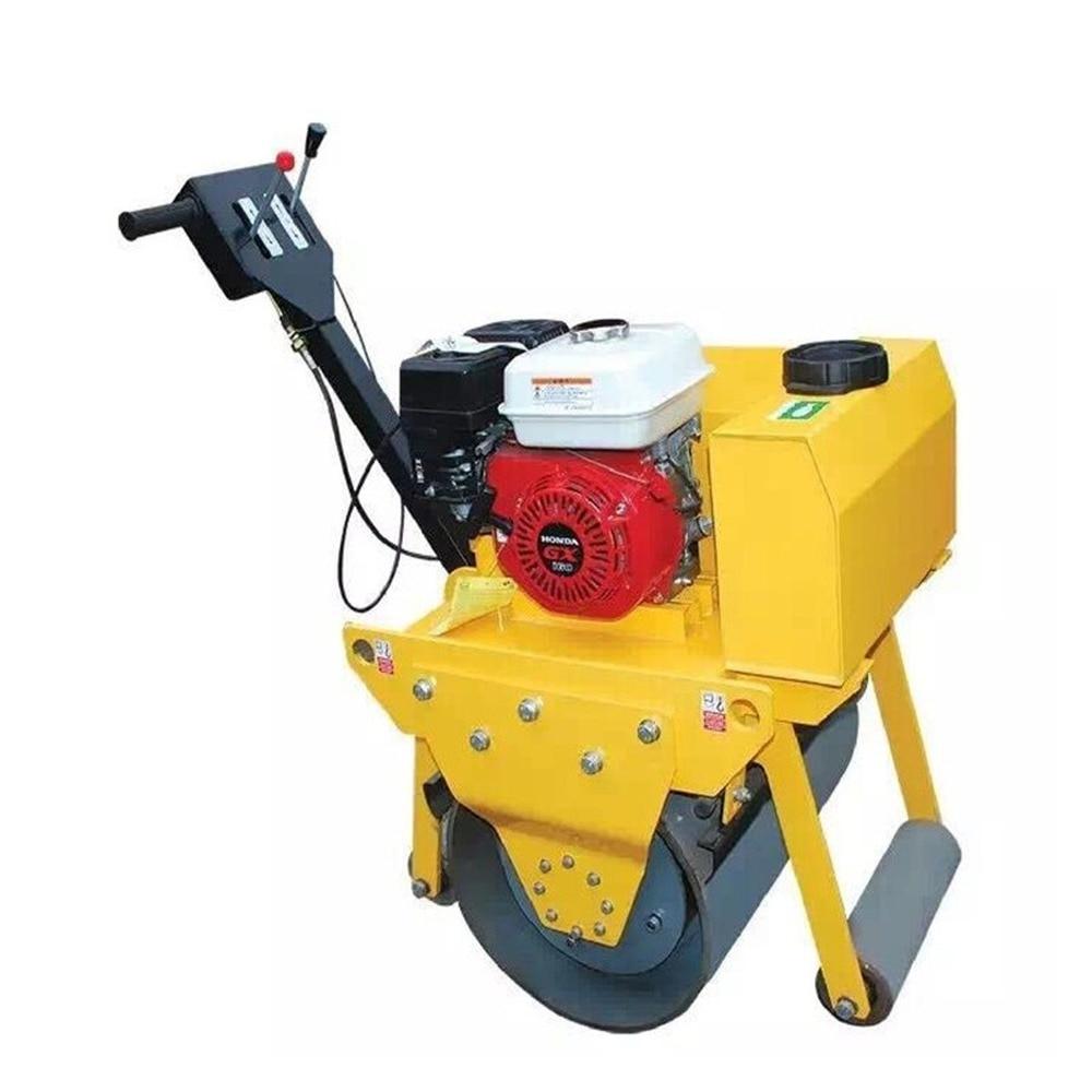 New Double Drum Ride on Road Roller Compactor Machine FVR-600S 5.5HP Walking Single Wheel Roller Honda GX160