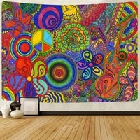 simsant groovy tapestry peace and love bohemia hippe flower wall hanging tapestries for living room bedroom dorm home decor