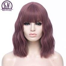 MSIWIGS-Peluca de cabello sintético para mujer, cabellera artificial ondulado con flequillo, color morado, rojo, verde, Bob Natural, marrón, azul y negro