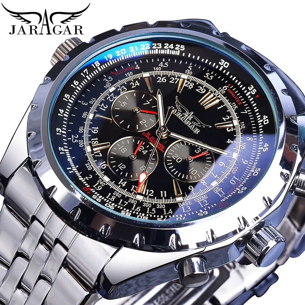 Jaragar Blue Glass Men Automatic Watch Black Silver Stainless Steel Date Clock Luminous Hand Busines
