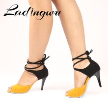 Ladingwu chaussures de danse latine Beige jaune daim Salsa chaussures de danse chaussures de danse de sport dintérieur chaussures de danse professionnelle talon en métal 8c