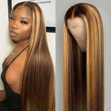 Highlight Wig Human Hair Silk Straight Lace Front Human Hair Wigs Brown Colored Human Hair Wig Prepl