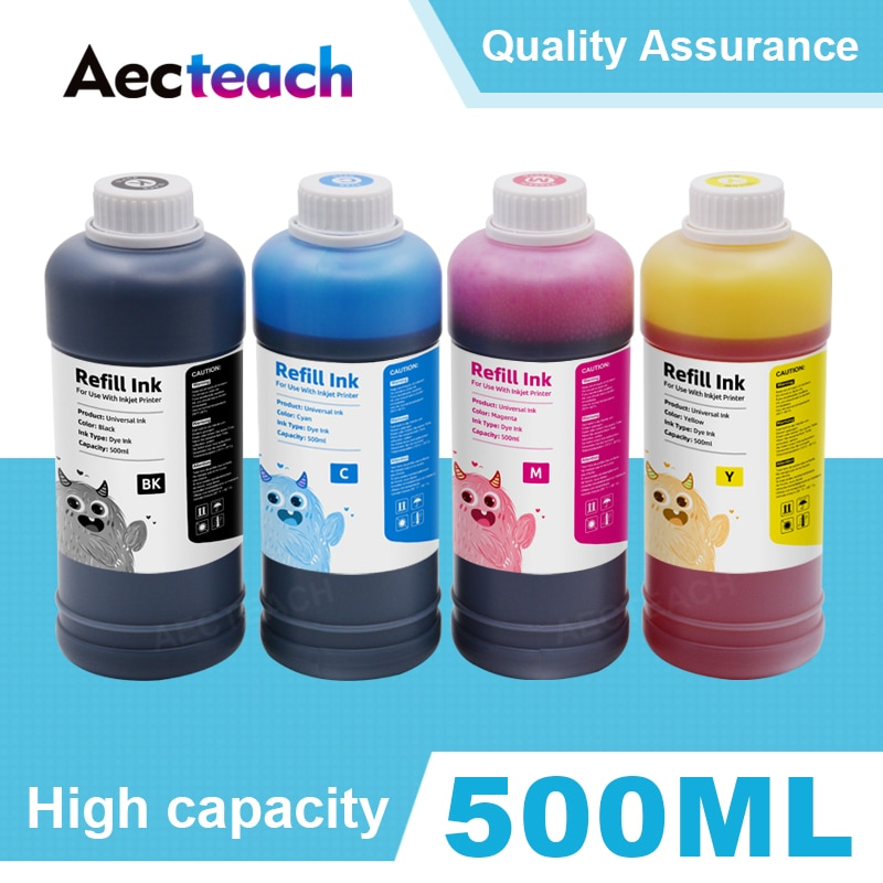 Aecteach 500 مللي زجاجة صبغ طابعة الحبر مجموعات الملء 4 اللون ل HP لكانون طابعات لإبسون لأخيه الحبر خراطيش