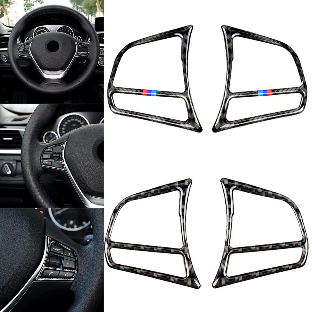 New 2pcs Set Car Steering Wheel Button Frame Cover Trim Carbon Fiber Interior for BMW F20 F21 F30 F32 F34 Auto Parts