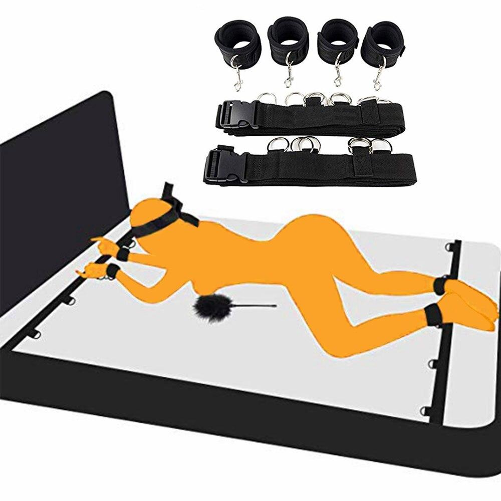 Взрослые игры SM эротические бриллианты для пар взрослые открытые ноги БДСМ Связывание фиксаторы нейлоновые манжеты на лодыжку наручники а...