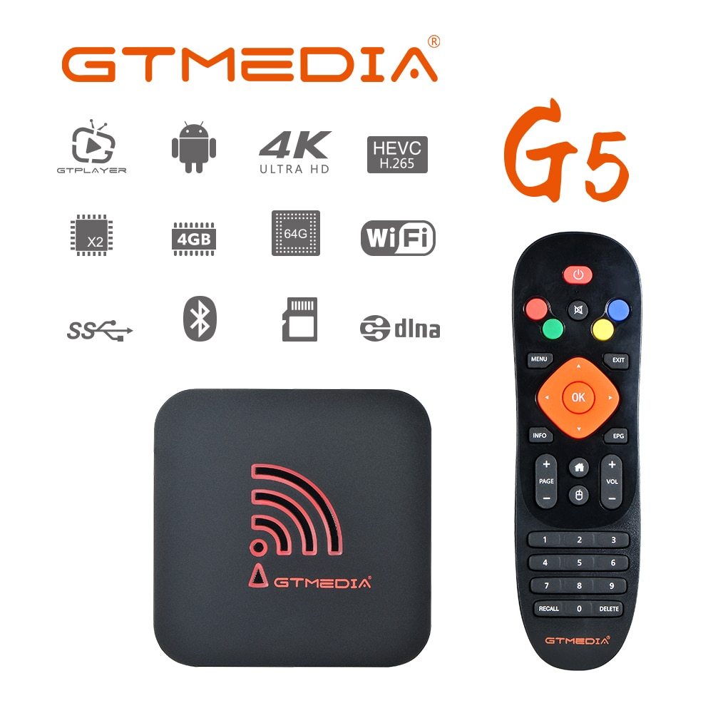 GTUI-decodificador de señal G5 con Android 9,0, dispositivo de TV inteligente S905X2, 4 GB, 64 GB, 4K, 3D, H.265, wi-fi, Bluetooth 4,0, OTA, receptor multimedia, iptv BOX