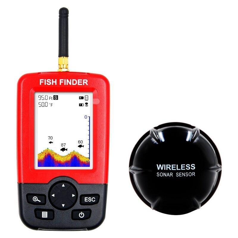 Buscador de peces inteligente portátil buscador de peces de Color inalámbrico de carga de pantalla de matriz de puntos buscador de peces Sensor de Sonar inalámbrico eco Sounder