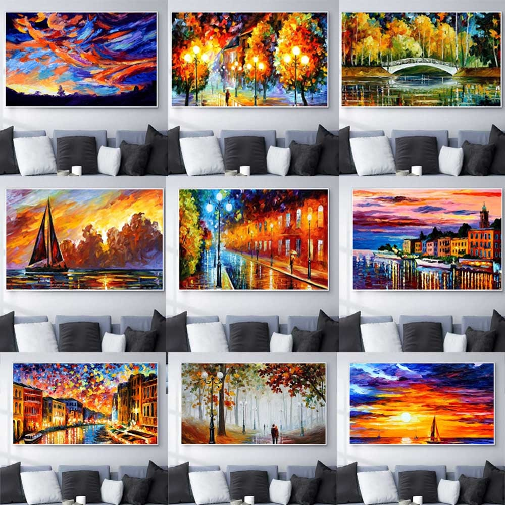 Landscape oil painting lovers after rain night scene art canvas living room corridor office home decoration mural
