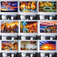 Peinture a lhuile de paysage pour les amoureux de la nuit apres la pluie  toile dart  salon  couloir  bureau  decoration murale de la maison