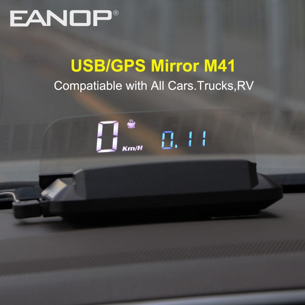 شاشة أمامية EANOP ، طراز 2020, جهاز عرض السرعة EANOP الجديد (HUD M41) قياس السرعة ونظام تحديد المواقع العالمي (GPS) ، مناسب لجميع السيارات KMH/KPM