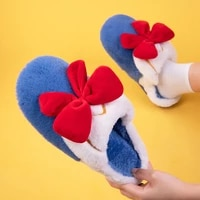 bow tie cotton slippers womens winter home indoor slipper color contrast lovely plush slippers girl style fashion warm
