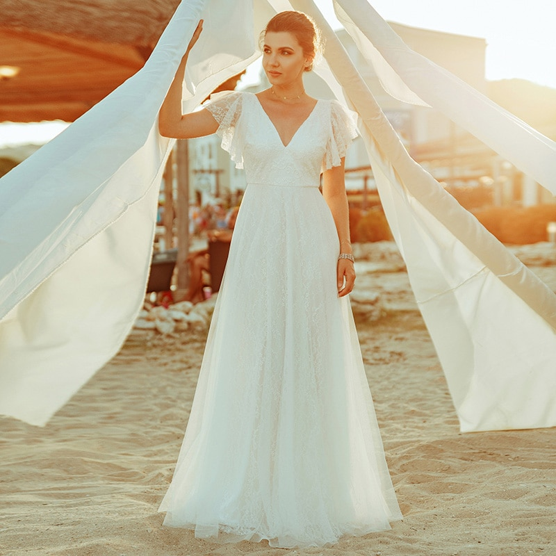 Ever Pretty Simple Boho Wedding Dresses A-Line Double V-Neck Embroidery Elegant Lace Bride Gowns Gelinlik Vestido De Noiva 2020