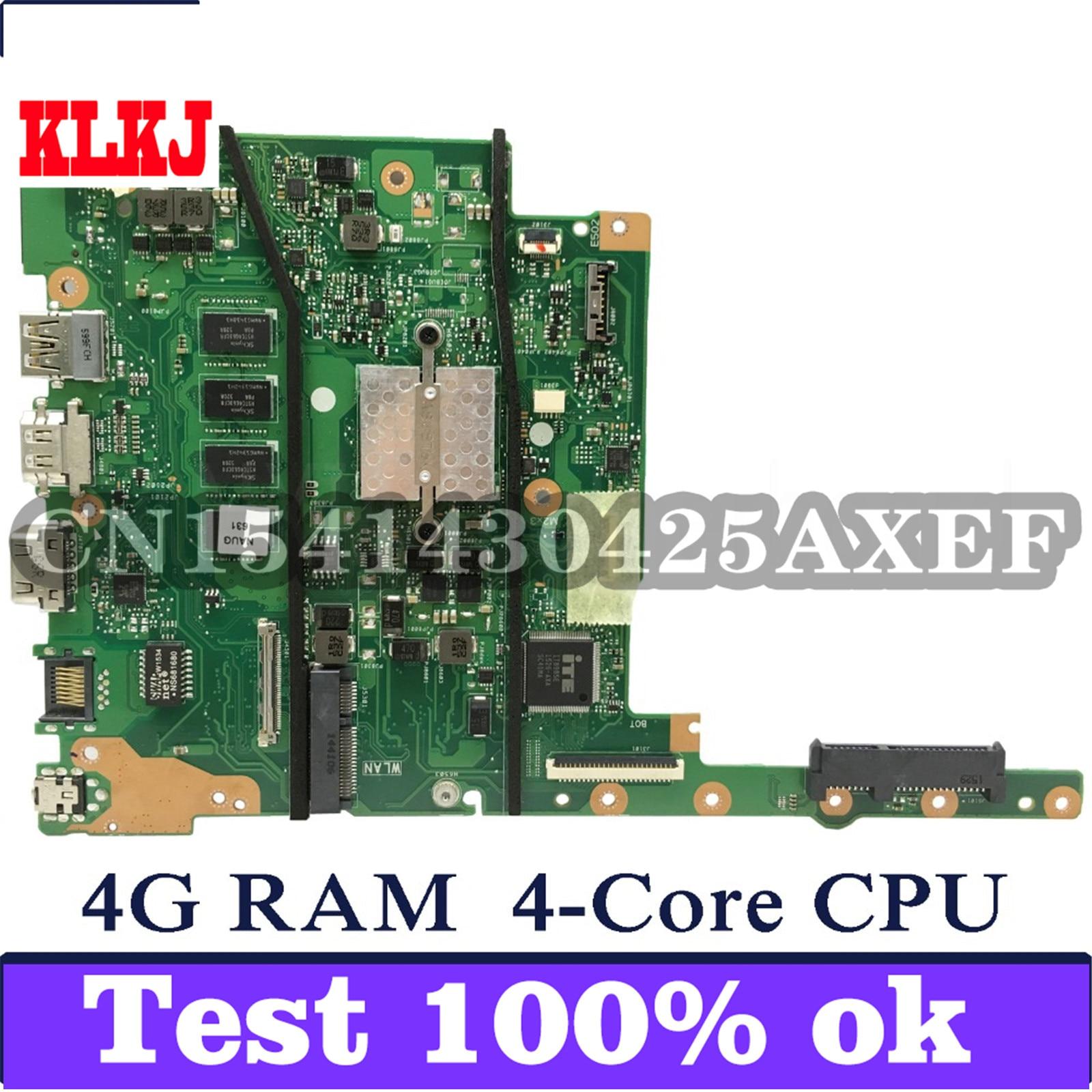 KLKJ E402MA E502MA اللوحة الأم للكمبيوتر المحمول ASUS E402MA E502MA E402M E502M E402 E502 اختبار اللوحة الرئيسية الأصلية 4G RAM N2940 4-Core