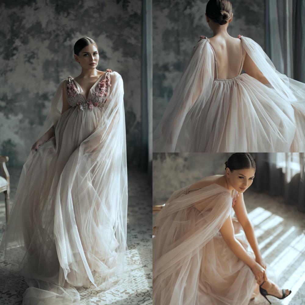 فستان حمل A-Line ، تول مزين بالزهور ، بدوار ، ثوب نوم ، رداء حمام ، إكسسوارات التقاط الصور