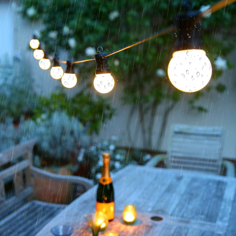 Led string luz ao ar livre luzes de fadas guirlanda 8m 13m g50 lâmpadas jardim pátio casamento decoração natal corrente luz à prova dwaterproof água