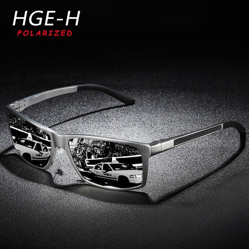 HGR-H Gafas de sol polarizadas de aluminio y magnesio de gran calidad para hombre, bisagra de resorte cuadradas con Gafas de sol, Gafas ligeras para hombre KD173