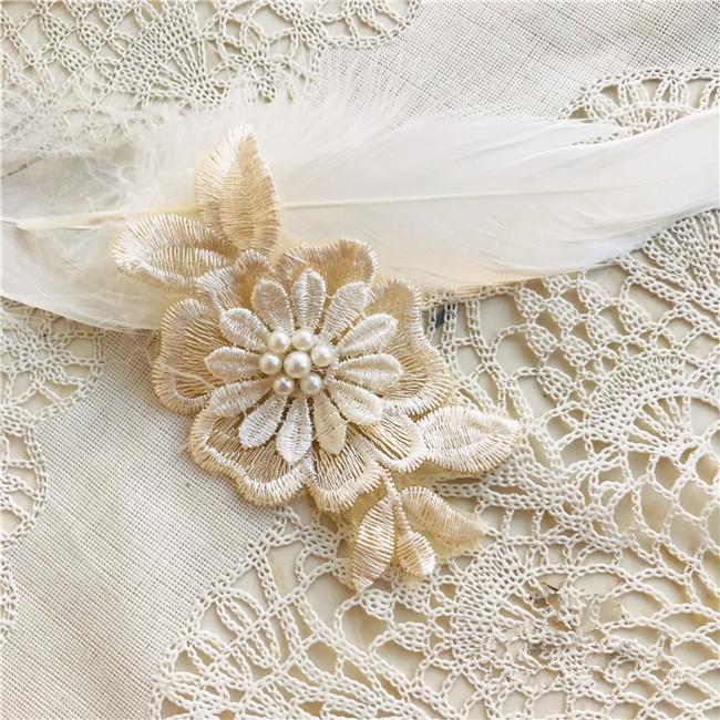 5 pçs laço bordado pano adesivos champanhe transparente malha borboleta organza remendo decorativo roupas chiffon vestido decalques
