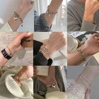 xiyanike 925 sterling silver vintage bracelet for women men love heart thai silver bracelet best friend gift hip hop jewelry