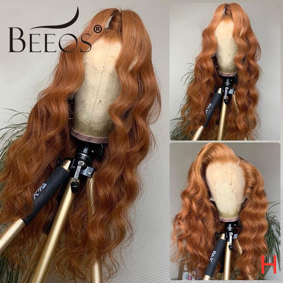 Beeos 13*4 150% peluca Rubia de jengibre de color suelto de onda de encaje profundo frente Peluca de pelo humano prearrancado transparente de encaje brasileño Remy