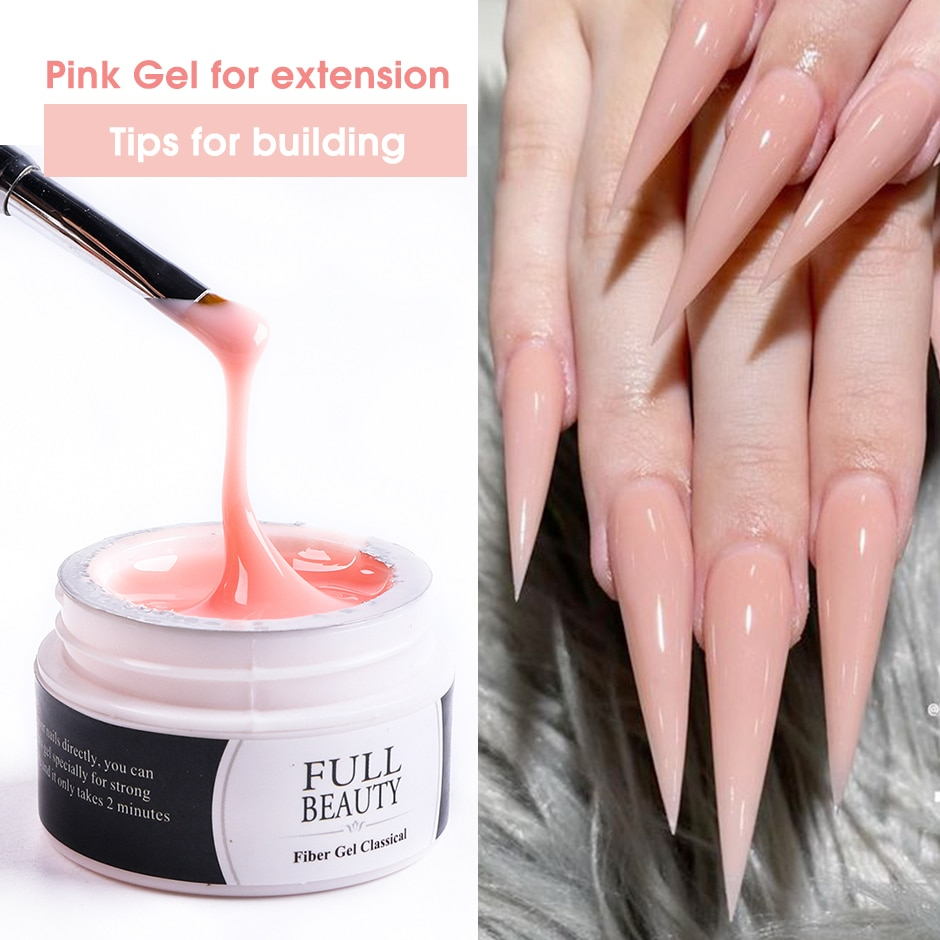 NEW 15ml UV Gel for Extension Nude Pink Clear White Poly Nail Gel Polish Quick Building Acrylic Fren