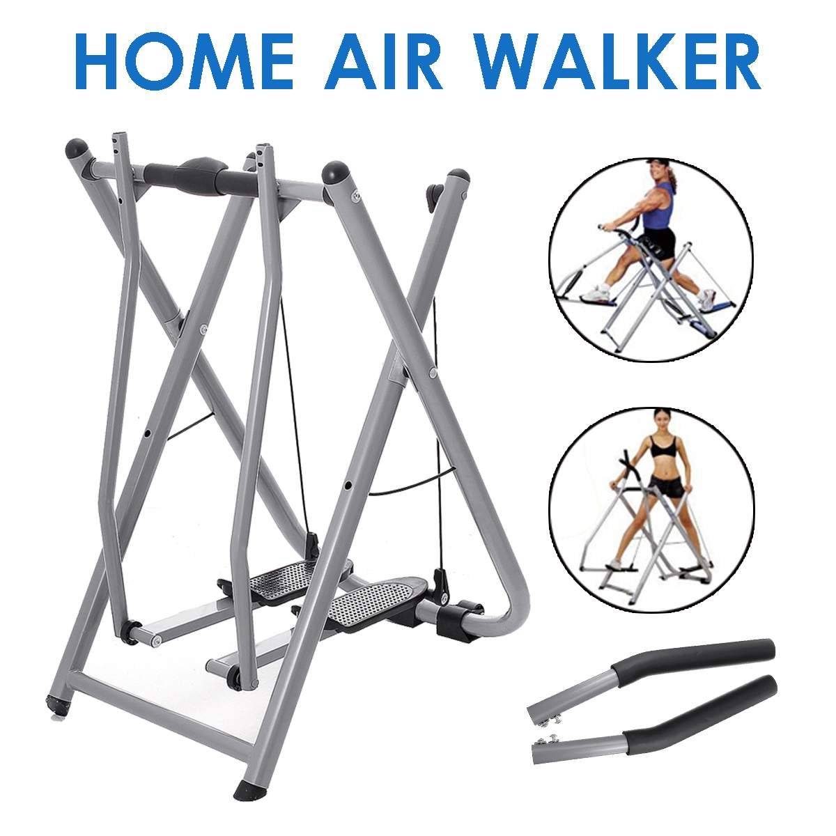 Foldable Pipe Air Walker Steppers Home Gym Elliptical Exercise Machine Handrail Slimming Workout Tra