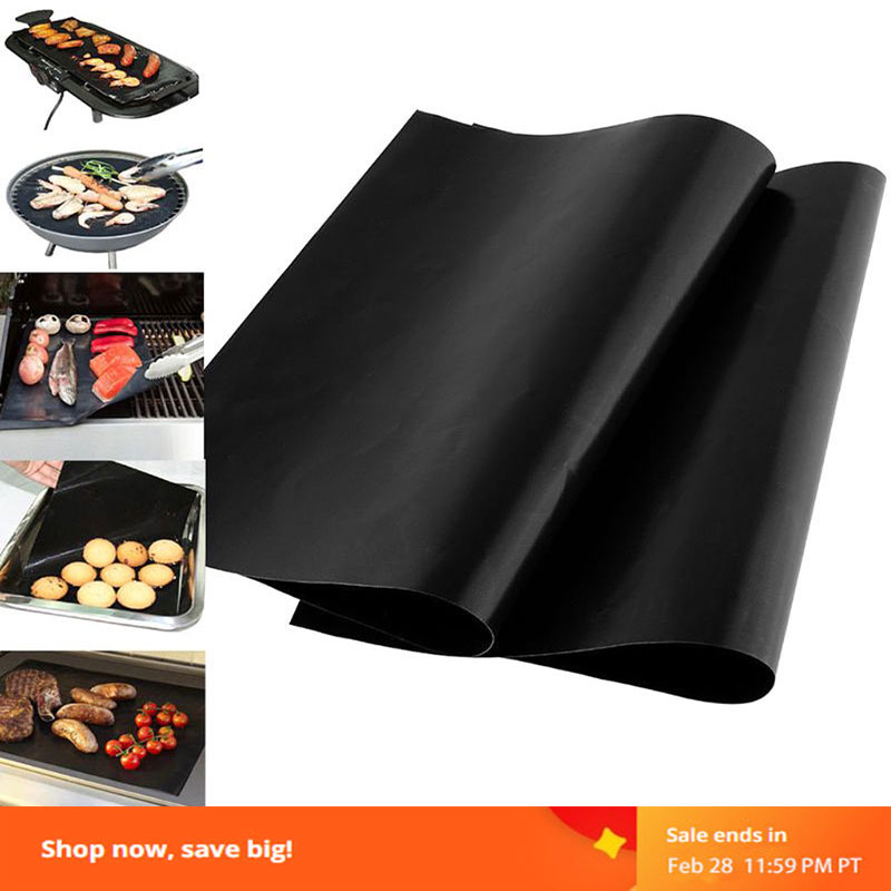 Reusable BBQ Grill Mat Non-stick Baking Mat Baking Sheet Portable Outdoor Picnic Heat Resistant Cook