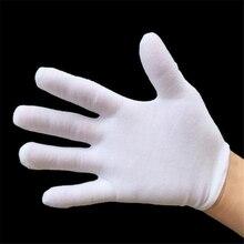 12 par/set Primavera Verano algodón guantes hombres mujeres negro blanco etiqueta Stretch guantes baile apretado blanco joyería guantes