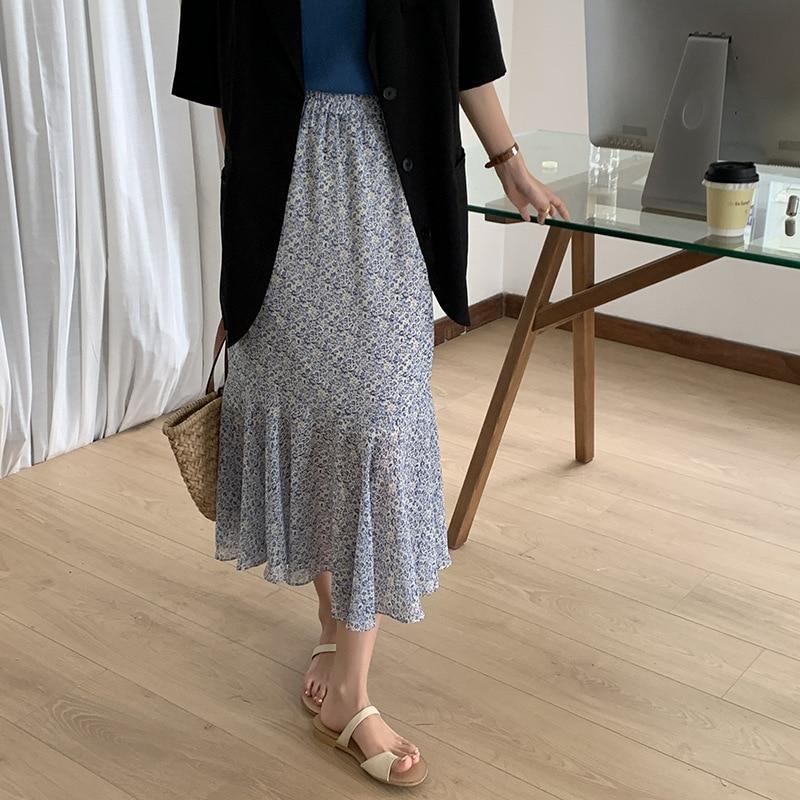 sequined high low hem fish tail skirt 2021 Summer Women Chiffon Skirt Thin Korean Version Mermaid High-Waist Mid-Length A-Line Fish Tail Midi Skirt Green/Blue Q88686