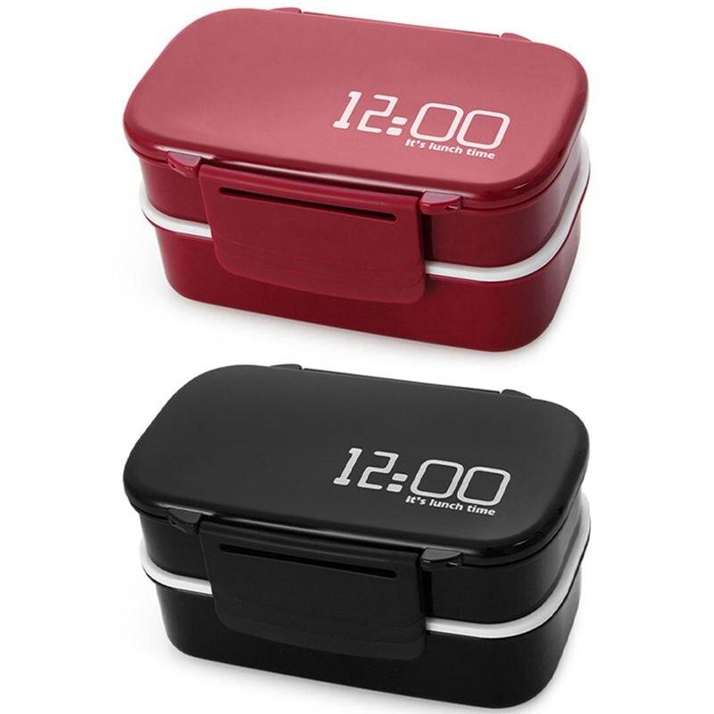 2 قطعة سعة كبيرة 1400 مللي علبة غداء بلاستيكية مزدوجة المايكرويف بينتو صندوق لحفظ الطعام لونشبوكس-أحمر وأسود