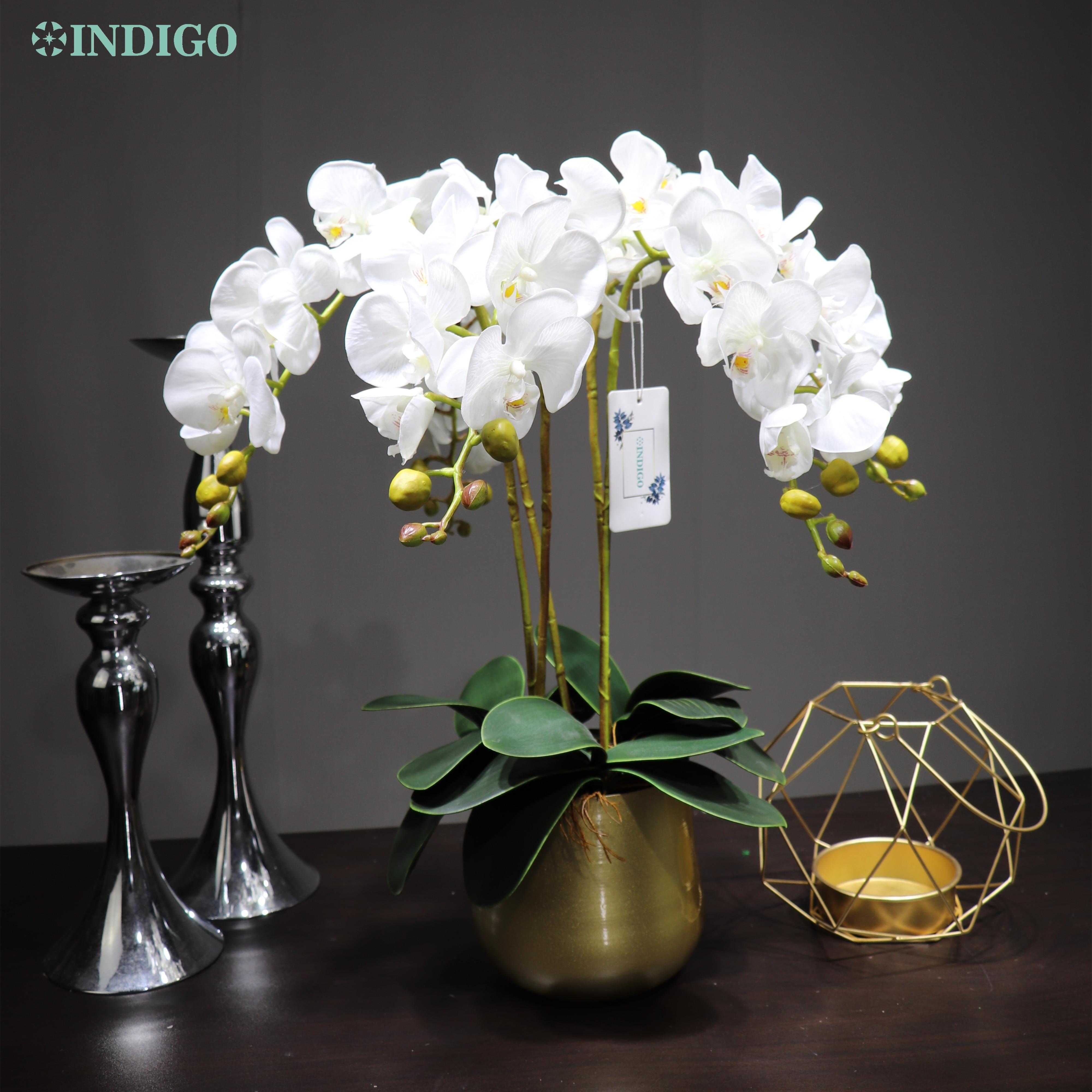 INDIGO - 1 Set DIY arreglo de flores de orquídeas con maceta toque Real flor para oficina de boda Bonsai decoración ShopWindow envío gratis