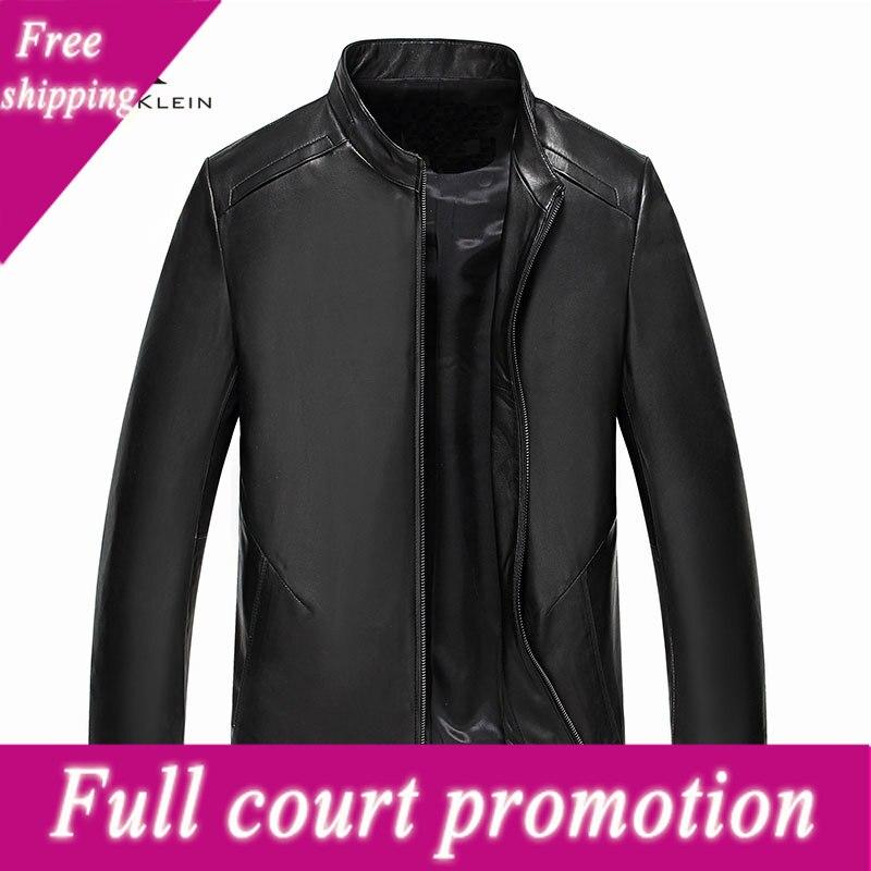 الرجال سترة جلدية حقيقية سترات جلد الغنم الحقيقي جيوب سوداء غير رسمية الخريف سترة جديدة للرجل mj18