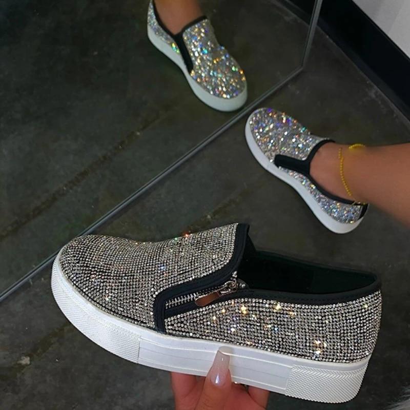 Zapatos planos con diamantes de cristal párr mujer de zapatillas informales con...