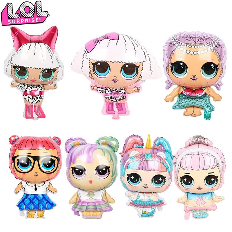 Gril-bonitas decoraciones para fiesta de cumpleaños, LOL, muñecas sorpresa, globos de aluminio, suministros de baño para bebé, Kawaii, bautizo, regalos para niños
