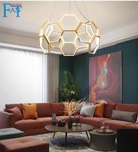 Projet de nid dabeilles de lustre, lampe de pendentif led de luxe de lumière postmoderne lampes chaudes nordiques