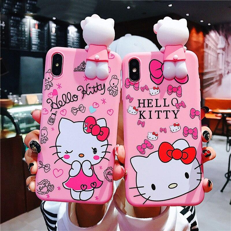 Милый 3D Мягкий силиконовый чехол для iphone 11 11pro 11pro max iphone 7 8 милый чехол Hello Kitty для iphone 2020SE