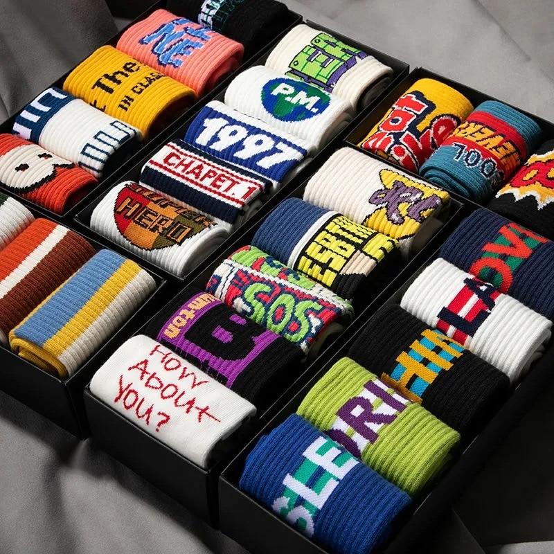 Men's Socks Women's Socks Mid-tube Basketball High Top Graffiti Street Trend Boys Sports Hip Hop Korean Cotton Socks Wholesale