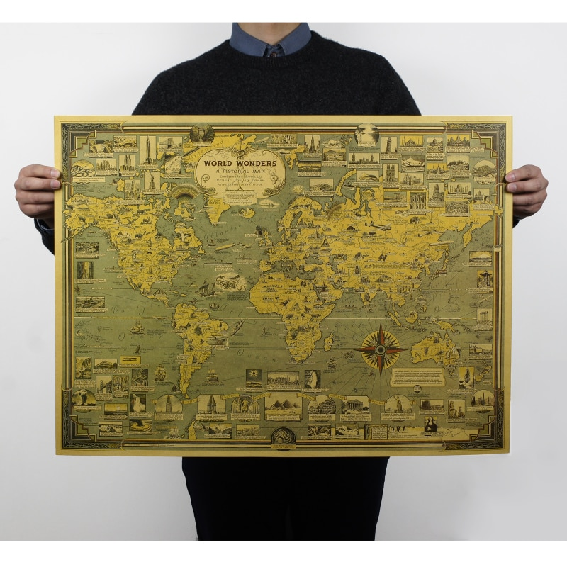 Great Building and Architecture Miracle Wolrd Map for School Stationery & Office Supply