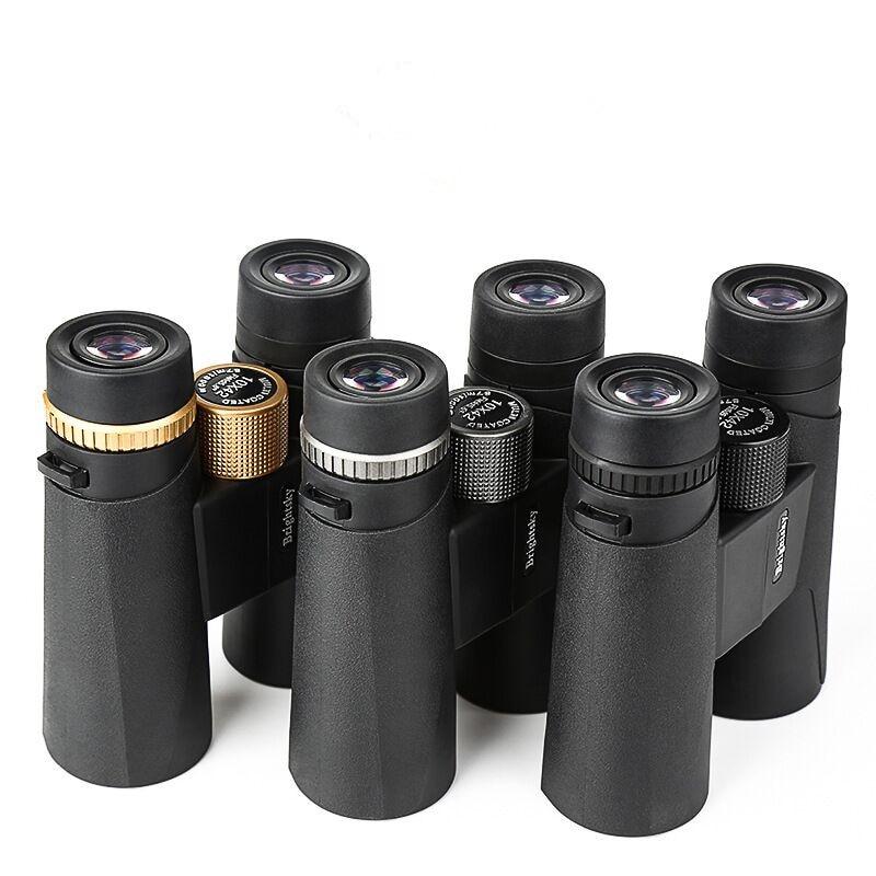 Binoculares de 10x42 para acampada con miras de caza con correa para el cuello bolsa de transporte telescopio de gran angular binocular profesional de alta definición