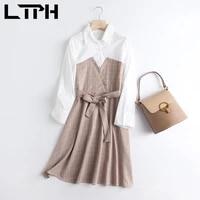 ltph korean elegant long sleeve shirt dress women high waist sashes plaid fake two pieces vintage a line dresses 2021 spring new